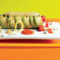 Avocado Canelones with Tomato Caviar and Soy Air