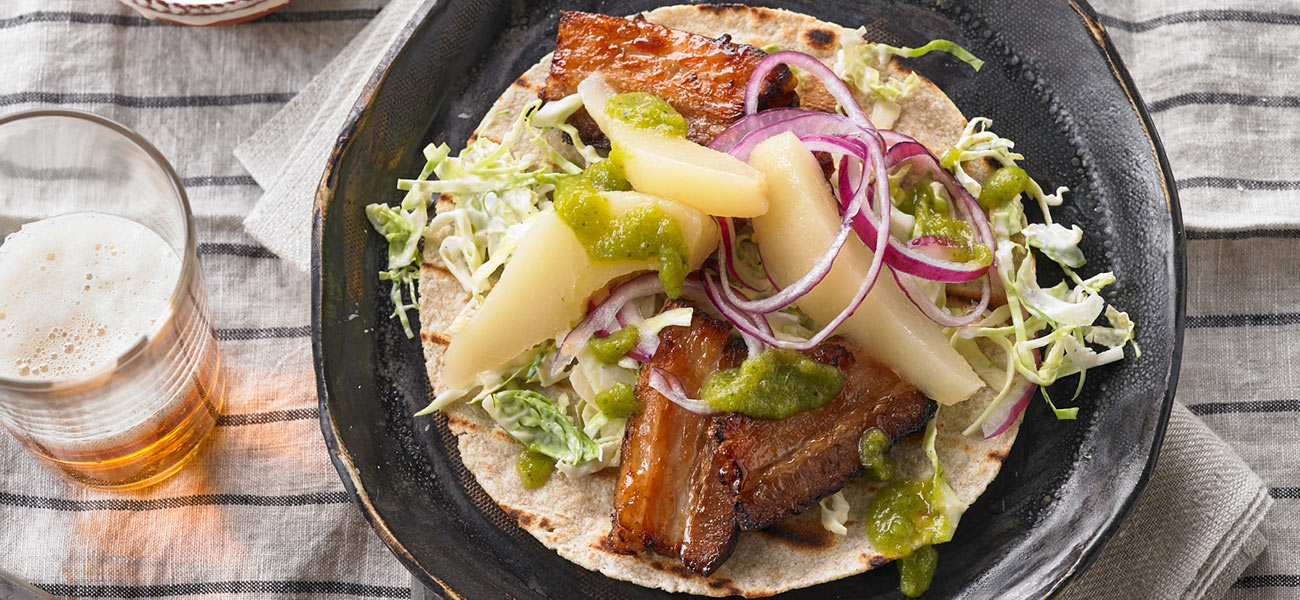 pear and pork belly tacos